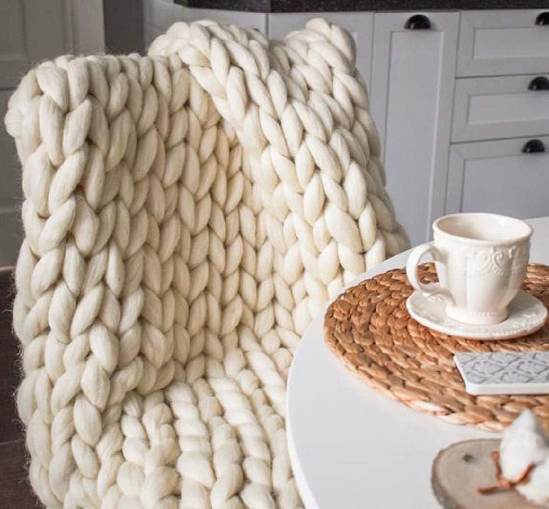 Chunky Ivory Blanket with Navy Trim