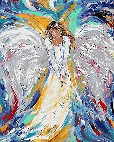 絵画インテリア数字で着色された天使数字で絵画インテリア家の装飾のための数字で着色写真の油絵キャンバス絵画インテリア40x50cm非フレーム