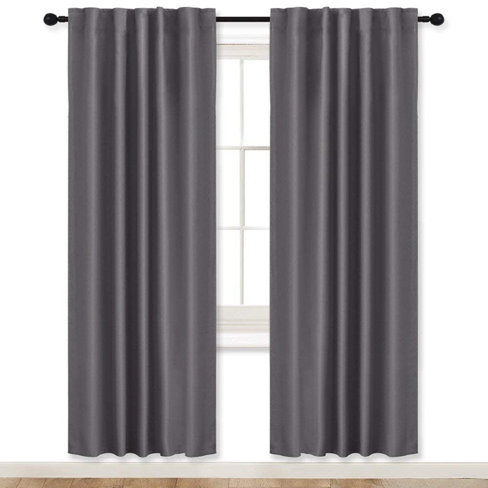 Living Room Blackout Curtains Draperies Grey - RYB HOME ( 42'' Wide x 72'' Long, 2 Pieces ) Window Treatments Room Darkening Energy Saving Back Tab & Rod Pockets with 12 Loops