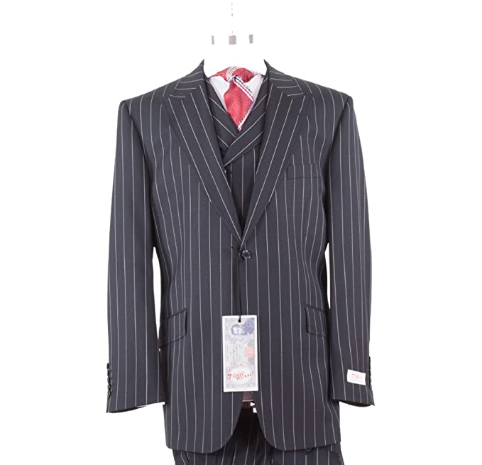 1940s Men's Suit History and Styling Tips Tiglio Rosso Black Pinstripe 1 Button Wide Leg 100% Pure Wool Suit $399.00 AT vintagedancer.com