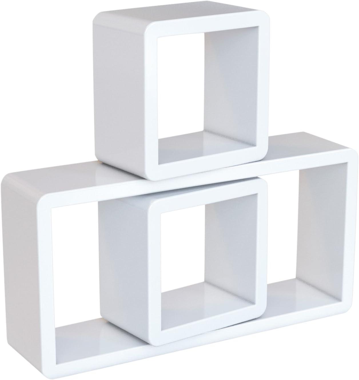 SONGMICS Estante de Pared, Juego de 3 Estantes Flotantes de Cubo, Estantes Decorativos de Almacenamiento, Estantes de Exposición, para Dormitorio, Salón, Cocina, Máx. Carga 15 kg, Blanco LWS102