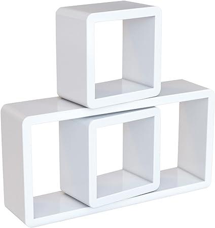 SONGMICS Estante de Pared, Juego de 3 Estantes Flotantes de Cubo, Estantes Decorativos de Almacenamiento, Estantes de Exposición, para Dormitorio, ...