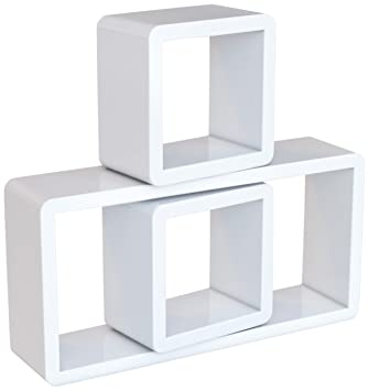 songmics juego de 3 estantes para libros cds estanteras de pared cubos retro blanco lws102 - Estantes De Pared