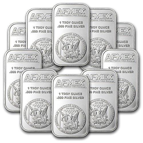 1 oz pure 0.999 Apmex silver bar lot of 10 sealed (Bullion Art Bar)