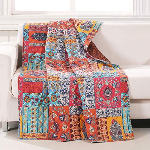 (Finely Stitched Bohemian Boho Throw Blanket Mandala Printed Decorative Pattern Bedding Hippie Reversible Lightweight Washable Couch Sofa, Red Blue - Includes Bed Sheet Straps)