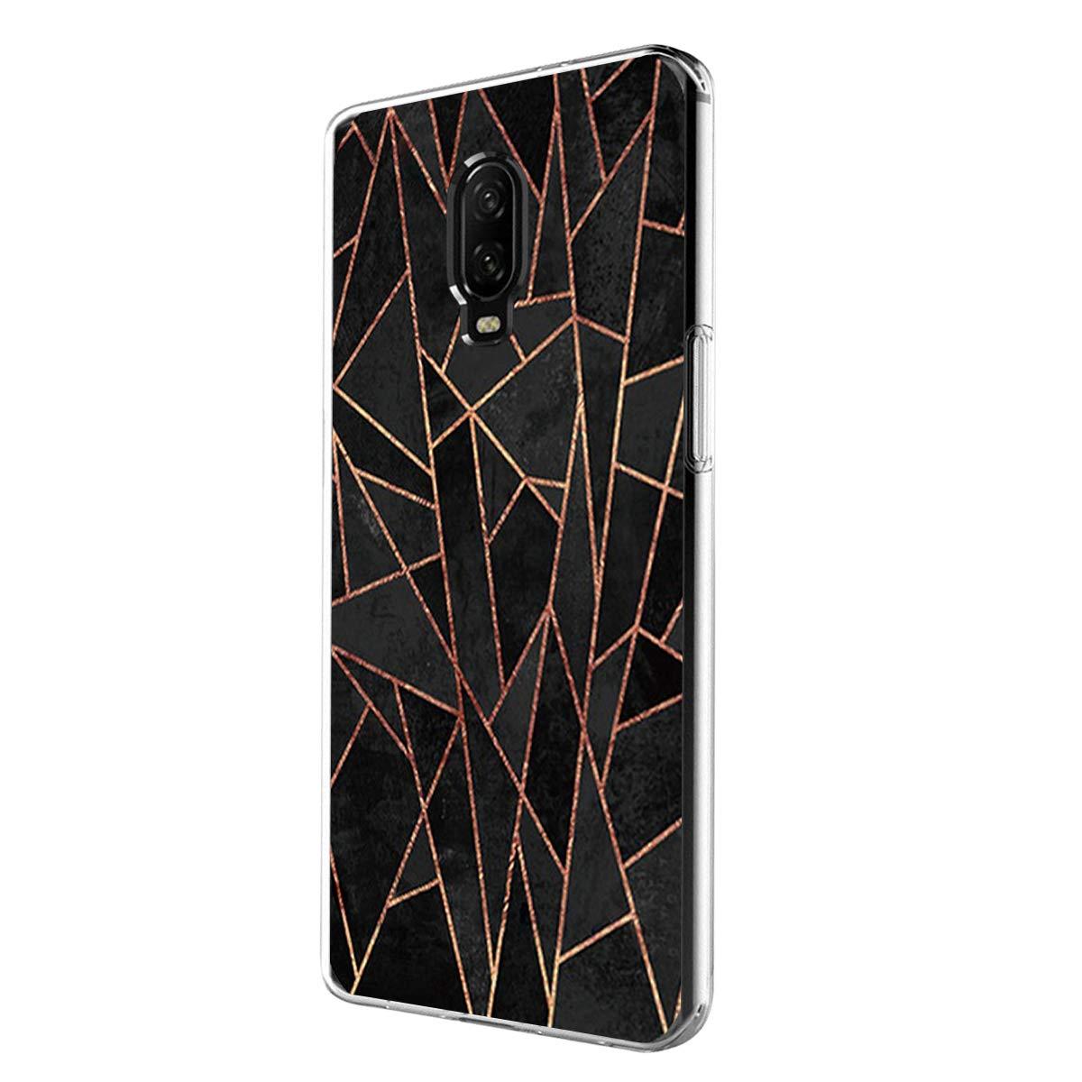 Handyh/ülle Kompatibel f/ür OnePlus 6T//1 6 H/ülle Transparent Kirstall Silikonkasten Anti-Scratch Geometrisches Muster Cover Weiche Schutz OnePlus 6 Case