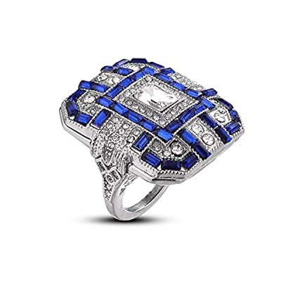 Luxury and Shining Fashion Women Crystal Silver Cubic Zirconia Band Ring Jewelry Gift: Clothing