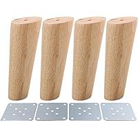 BQLZR Lot de 4 pieds de canapé, d'armoire ou de meubles couleur bois, obliques, coniques, fiables, M4170724022
