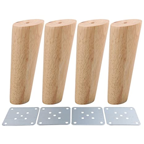 4PCS Sofa Legs 6inch Wood Oblique Tapered Wooden Furniture Legs Wood Color 15cm with White Box