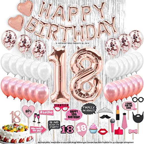 18th BIRTHDAY DECORATIONS, 18 Birthday Party Supplies| 18 Cake Topper Rose Gold| Banner| Rose Gold Confetti Balloons for her| Silver Curtain Backdrop Props or Photos 18th BDay
