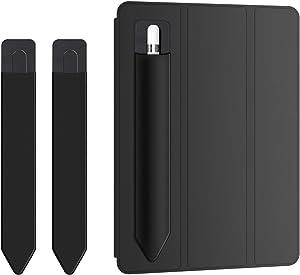 "Doormoon Pencil Holder for Apple iPad 2018 (6th Gen)/ iPad Air/ 9.7 / Pro 9.7""/ Pro 10.5""/12.9""/Pro 12.9/,Detachable Elastic Apple Pencil 2nd Gen Leather Sleeve Pocket Pouch (Black x 2)"