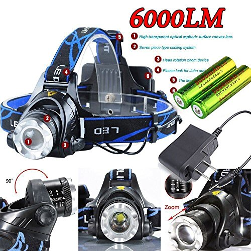 Band Flashlight Tv (6000LM CREE XM-L T6 LED Focus Headlight Head Lamp Zoomable + 2x18650)