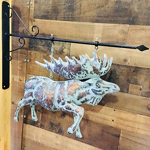 Hand Crafted LARGE 3D HANGING MOOSE & ARROW - Copper Patina Finish - Out Door Home Decor Accent - With Wall Mount Bracket INCLUDED (Patina Large Outdoor Hanging)