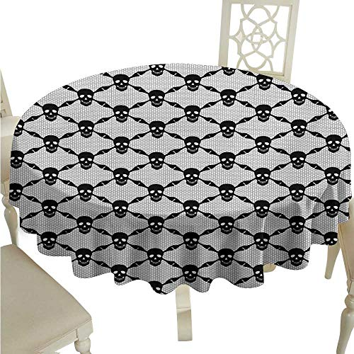 Round Tablecloth spillproof Gothic,Halloween Horror Theme Spooky Black Skulls Checkered Pattern with Skeleton Bones,Black White D70,for 24 inch -