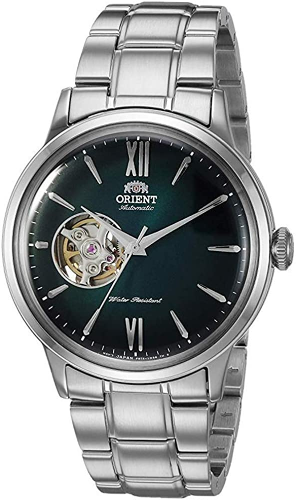 Orient Men s Helios Stainless Steel Japanese-Automatic Hand Winding Open-Heart Display