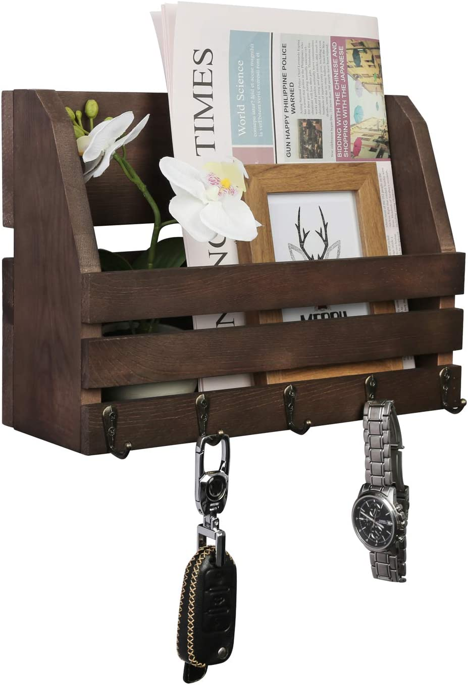 Pine 3-Tier Key Hooks Rustic Wood Wall Storage And Mail Sorter With Key Rack