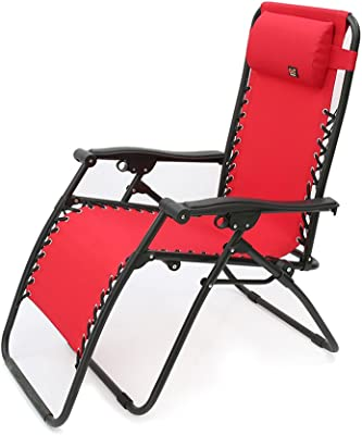 Lounge chair YNN Recliners Folding Portable Household Siesta Chair Multifunction Backrest Cool Lazy Chair/Sun Loungers for Garden Office Outdoor Indoor Beach Chair (Color : Red)
