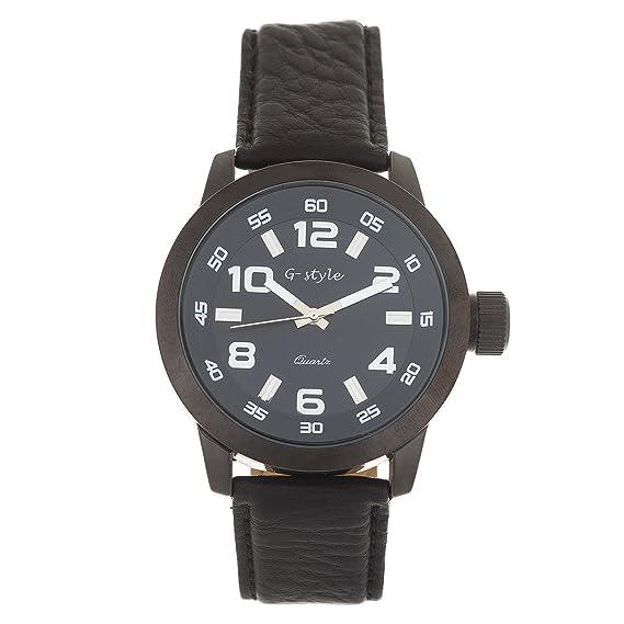 Reloj de Hombre de Moda G-Style Correa de Cuero Relojes Pulsera Regalo Perfecto (