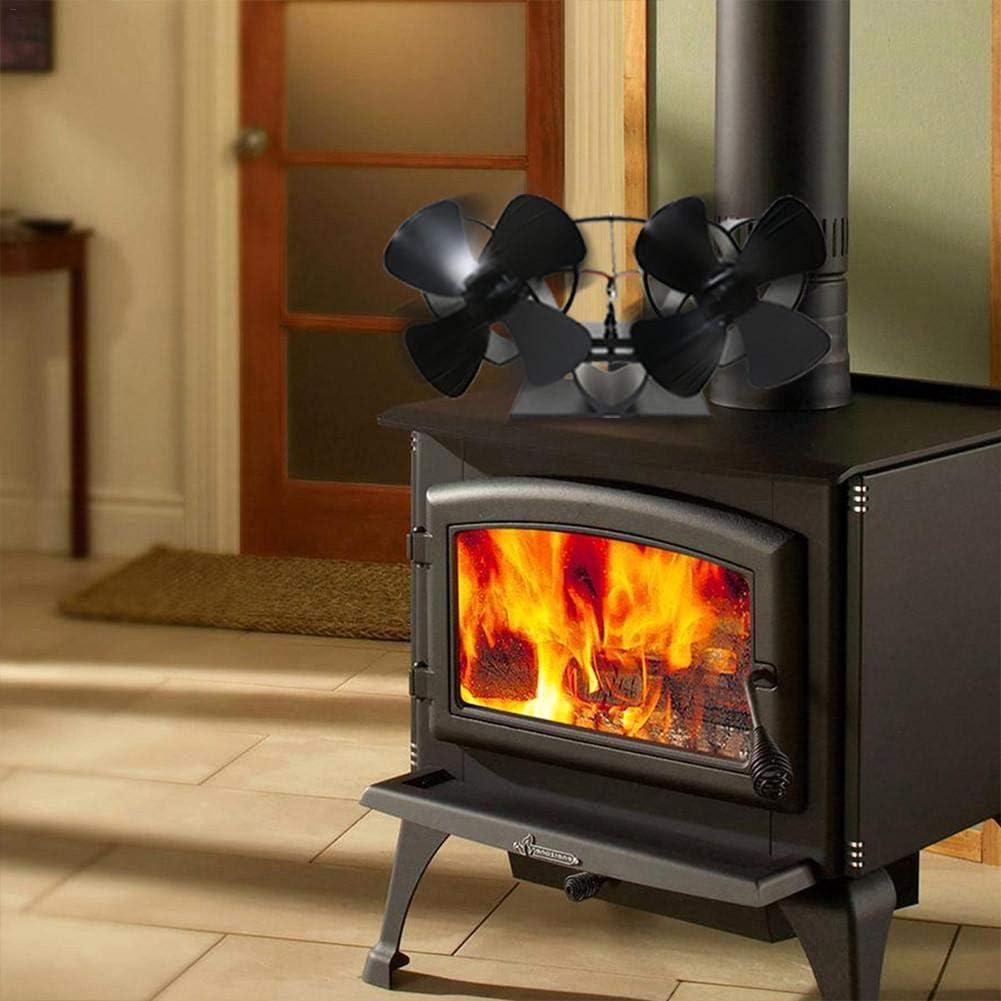 4 hojas ventilador para estufa con 4 hojas funcionamiento silencioso para estufa de le/ña Ventilador sin corriente