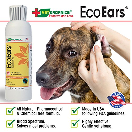 EcoEars | Natural Dog Ear Cleaner - Infection Formula For Itch, Head Shaking, Discharge & Smell. Multi-Symptom Ear Treatment Cleans Away Most Dog Ear Problems.No Chemicals or Drugs-100% Guaranteed