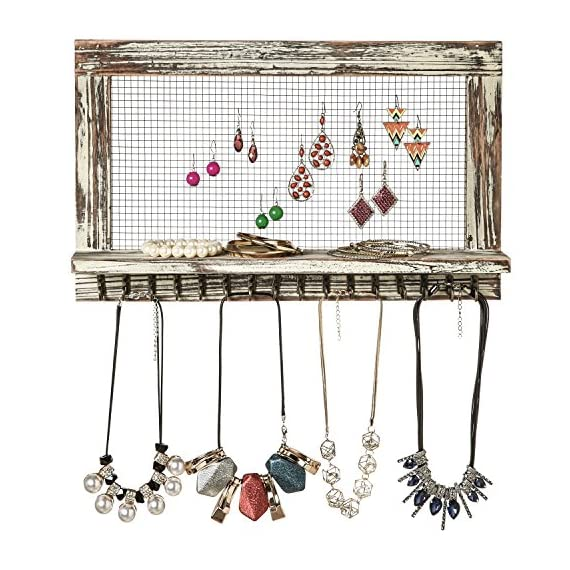 MyGift Distressed Wood Wall Mounted Jewelry Earring Bracelet Organizer Display Shelf with 16 Necklace Hooks - WALL-MOUNTED JEWELRY ORGANIZER: Rustic style barnwood wall mounted jewelry shelf rack for showcasing your earrings, necklaces and bracelets. EARRING DISPLAY & STORAGE: Features a chicken wire screen designed for hanging hook earrings and 16 hooks below the shelf can accommodate necklaces or bracelets. NECKLACE & BRACELET HOOKS: 16 hooks along the bottom hold several necklaces or bracelets each - wall-shelves, living-room-furniture, living-room - 61J1baZkSHL. SS570  -