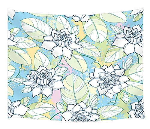 - KOTOM Floral Outline Wallpaper Tapestry Wall Hanging Art, Gardenia Flowers and Leaves on Contour, Wall Blanket Beach Towels Home Decor Polyester Fabric for Bedroom Living Room Dorm, 60X40 Inches