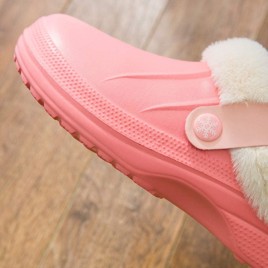 Toimothcn Waterproof Slippers Women Men Fur Lined Clogs Garden Shoes Warm House Slippers Outdoor Mules