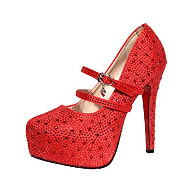 48f1eb362 Women Rhinestones High Heels Platform Shoes Sandals for Women Dress Shoe  Sankle Straps Wedding Prom Shoes