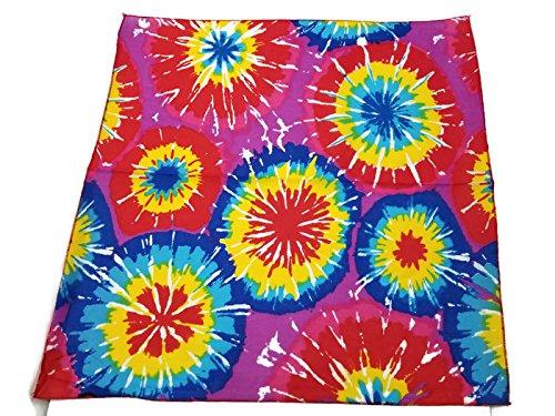 1 Dozen Paisley Bandanas 100% Cotton Double Sided Scarf (Many Colors) by M.H.I. (Tye Dye - Dye Circle
