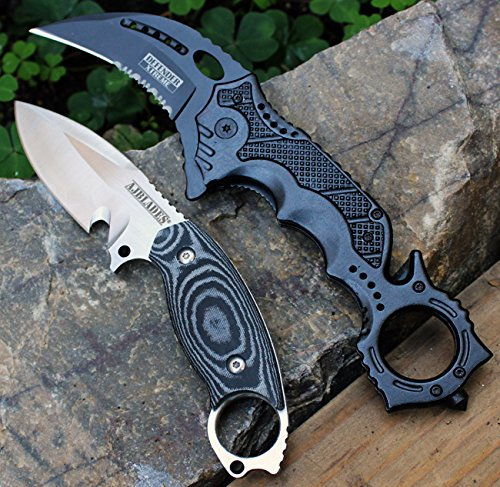 Stainless Handle Serrated Kydex Sheath - 2PC-TACTICAL FIXED BLADE BOOT KNIFE & DEFENDER BLACK Spring Assisted Rescue P/Knife [AJ324 & 8430]