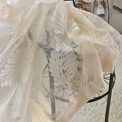 ASide BSide Home Treatment Rural Design Leaves Jacquard Sheer Curtains Voile Drapereies Rod Pockets For Sitting Room Kitchen and Child Room (1 Panel, W 52 x L 63 inch, White) by ASide BSide