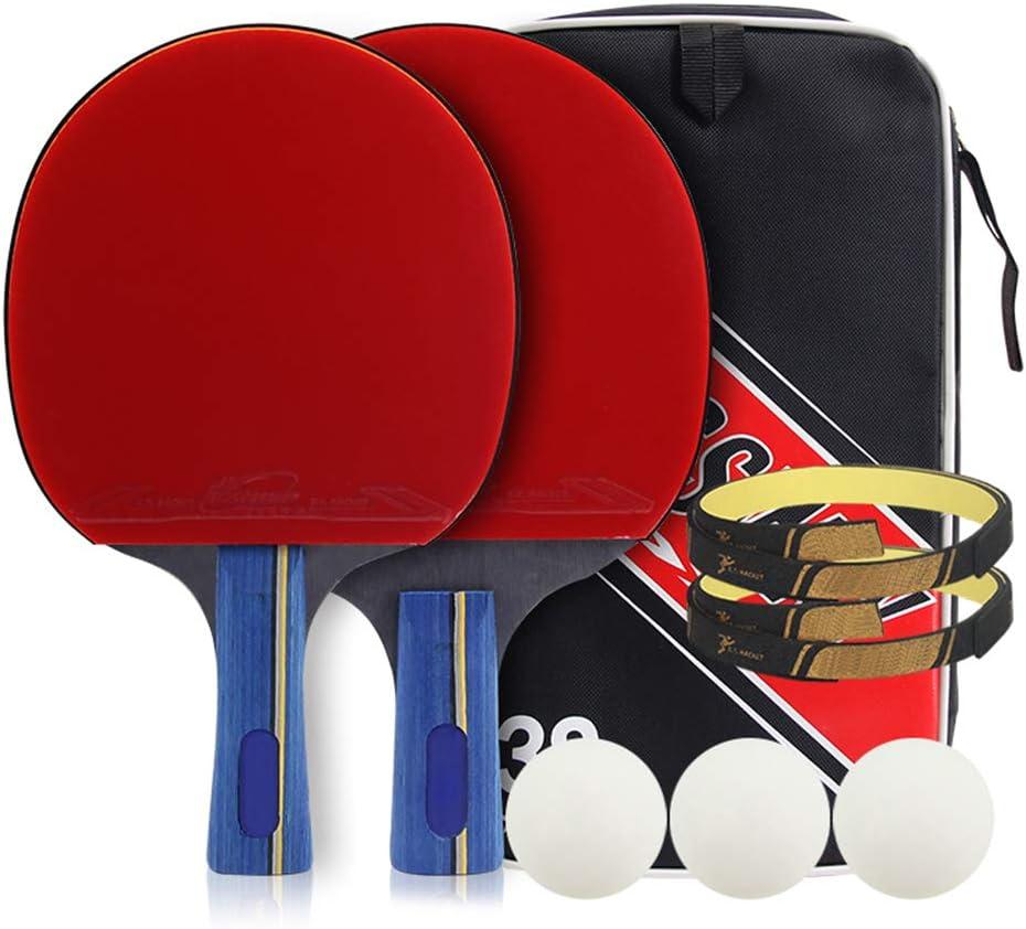 DGYAXIN Palas Ping Pong, Raquetas de Ping Pong Table Tennis Set Madera Avanzada de 5 Capas Caucho de Doble Cara con 2 Palos y 3 Pelotas Mango Largo Película Protectora del Panel Protección de Bordes