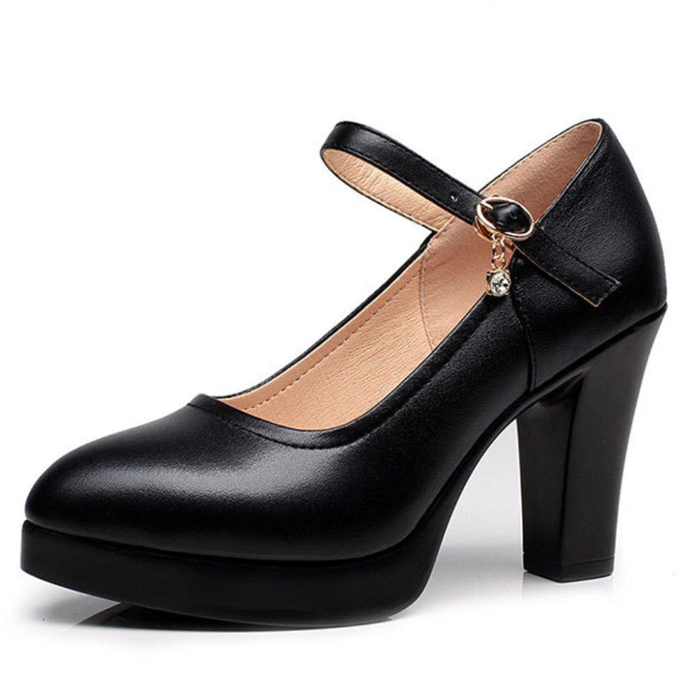 YR-R Tacones Con Punta Cerrada Para Mujeres Plataformas Con Tacones Gruesos Zapatos De Trabajo Para Mujeres Zapatos Mary Jane Zapatos Con Tacones Altos Para Mujer OL EU:39/UK:6.5|Black(8cm)