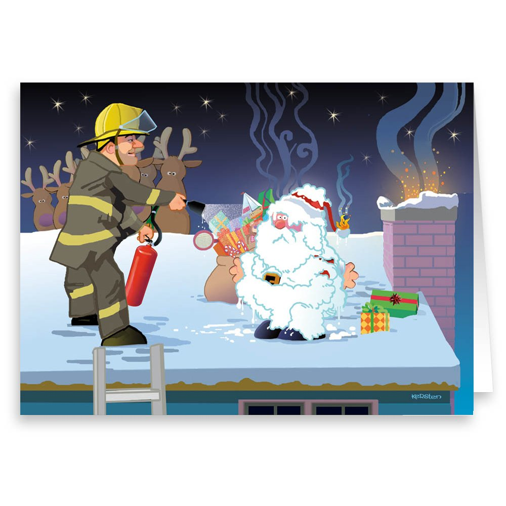 Amazon.com: Firemen to the Rescue Christmas Card - Firefighter -18 ...