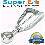 Best Cookie Dough Scoop by SuperEze- FREE Recipes -Top Stainless Steel Ice Cream Disher Size 24 -1.5 Oz Medium Portion Control Calorie Scooper. Fantastic Gift Idea. No Springs Triggers or Levers- 50mm