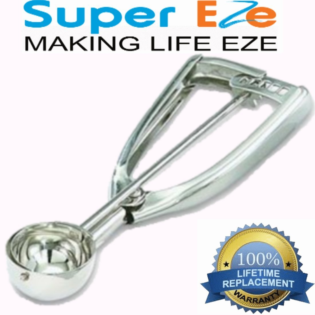SuperEze Ice Cream & Cookie Dough Scoop made from Stainless Steel (Size 24 Medium Cookie Dropper)