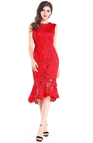Hanayome Womens High Neck Mermaid Vintage Red Lace Party Prom Dress size 2