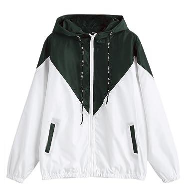 0554c4763 ZAFUL Women's Long Sleeve Hooded Collar Wide Waist Two Tone Windbreaker  Jacket