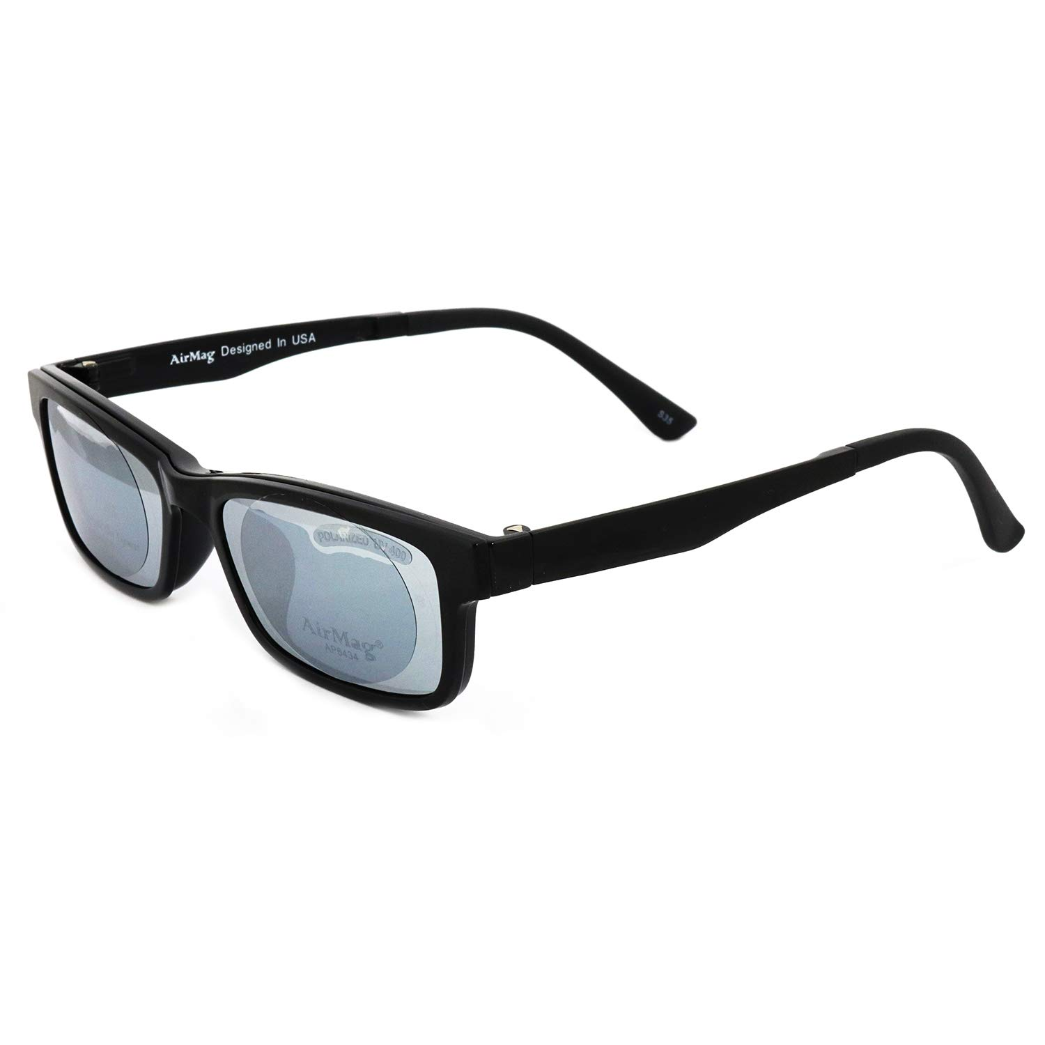 2856f09297 Amazon.com  AirMag AP6434 Eyeglasses - Frames with Mirror Magnetic Clip-On Polarized  Sunglasses - Black 52-16-141  Clothing