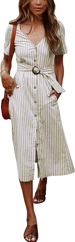 TOPUSH Womens Casual Stripe V Neck Short Sleeve Tie Waist Wrap ...