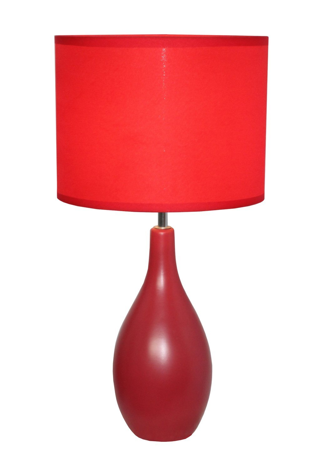 Simple Designs LT2002 RED Oval Bowling Pin Base Ceramic Table Lamp, Red   Red  Ceramic Lamp International   Amazon.com