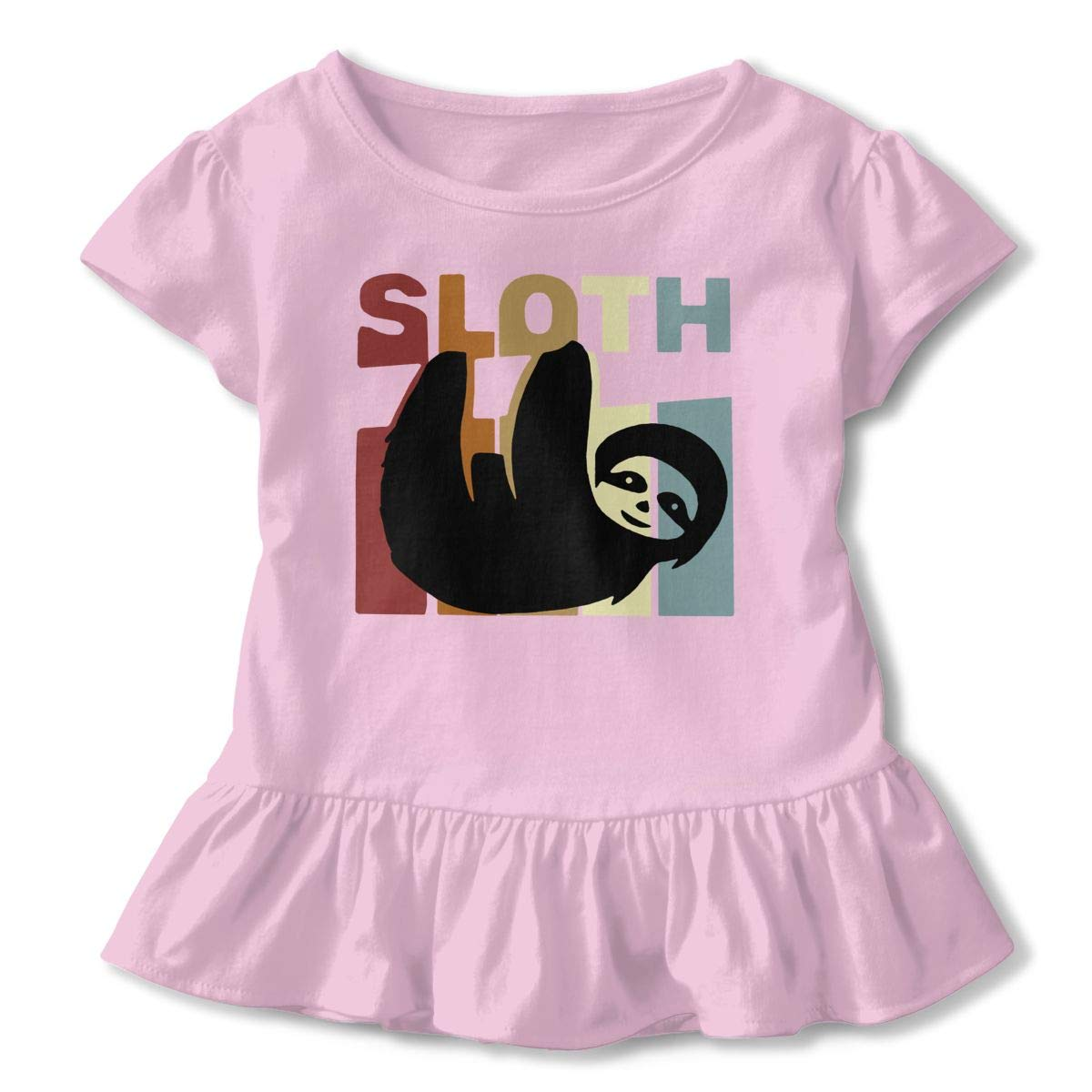 DXTDCMMe Retro Sloth Baby Girl Ruffle T-Shirt Crew Neck Tees for 2-6T