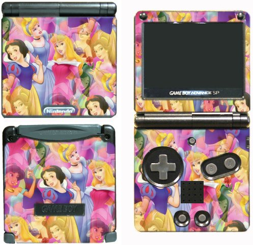 Princess Friends Ariel Snow White Cinderella Belle Jasmine Mulan Video Game Vinyl Decal Skin Sticker Cover for Nintendo GBA SP Gameboy Advance System (Snow White Game Boy Color)