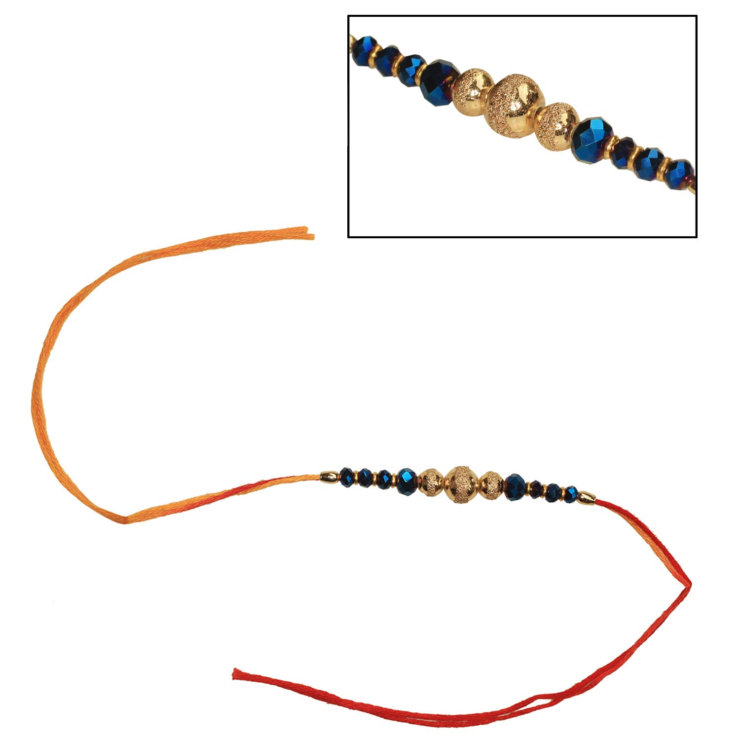 Tree of Craft Rakhi for Brother Bhaiya Bhabhi with 8 Blue Beads 3 Gold Beads in Red Orange Thread Raksha Bandhan RakshaBandhan Rakhi Best Fancy Bhai Rakhi Greeting Band Charming Kids Bracelet