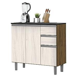 Balcão Cozinha Zanzini New Clean 3 Portas 2 Gavetas Nogal/Nevada