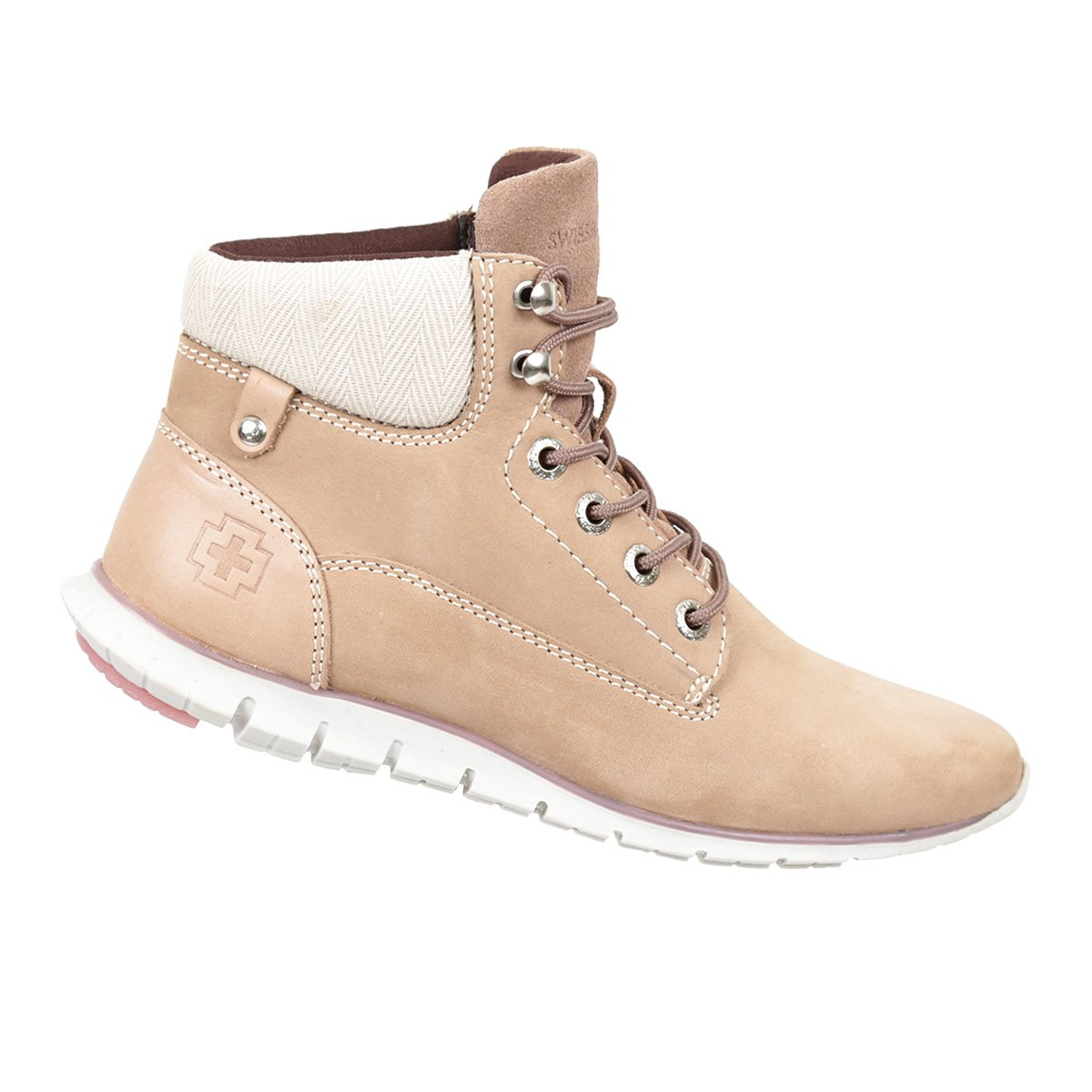 Swissbrand Women's Casual High-Top Lace-Up Boot Pink 6.5
