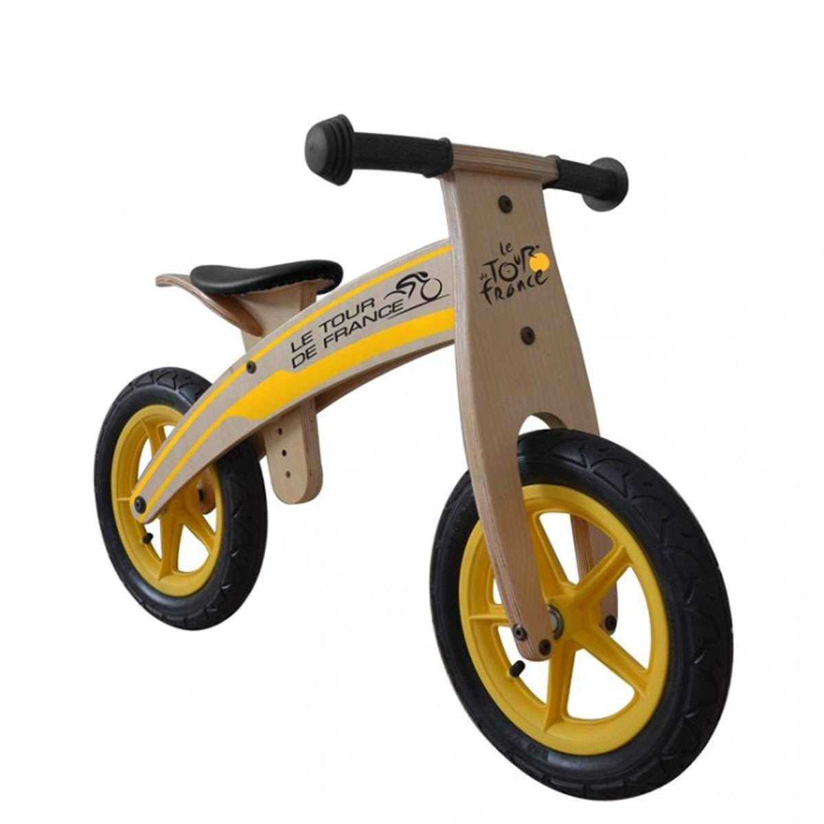 Tour de France Wood Running/Balance Bike, 12 inch Wheels, Kid's Bike, Wood Grain Color (Renewed)