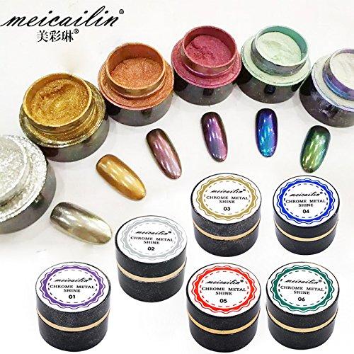 785d2d5cc30 on sale 6pcs/set Nail Art Chrome Pigment Mirror Effet Nail Glitter Powder  Dust 5g
