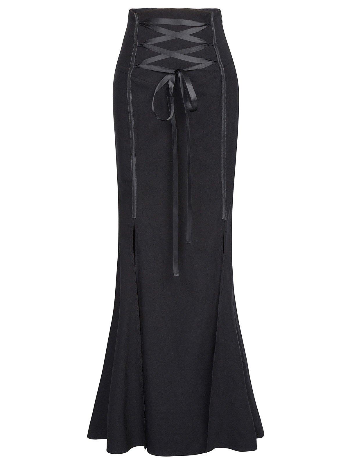 Belle Poque Women Gothic Victorian Steampunk Maxi Skirt Fishtail Mermaid Skirt BP447-1 XL Black