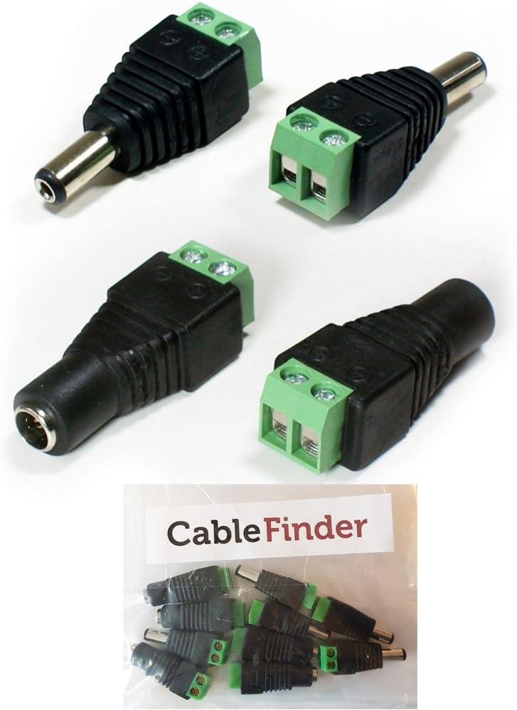 Cablefinder 5/Pack-5.5/mm X 2,1/mm DC-Stecker CCTV Schraube terminal-Plug /& Buchse Power Buben